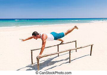 beau, plage, homme, fitness