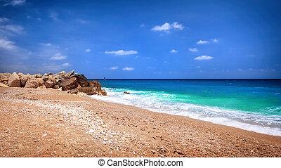 beau, plage, paysage