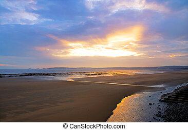 beau, plage, sur, coucher soleil, galles, swansea