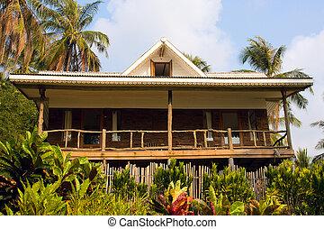 beau, plage tropicale, maison