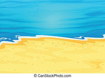 beau, plage, vue