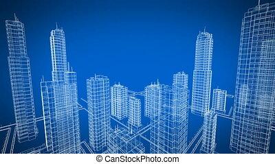 beau, plan, city., bâtiments., couleur, sur, voler, contemporain, bleu, construction, croissant, technologie, concept., animation., 3d