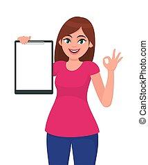 beau, plat, femme, concept, d'accord, signe., jeune, /, geste main, presse-papiers, vecteur, illustration, tenue, vide, projection, ok, sourire, style., dessin animé, heureux