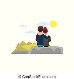 beau, plat, nature pierre, vacation., couple, séance, gens, jeune, étreindre, dos, regarder, vecteur, conception, vue., paysage.