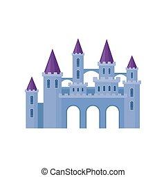 beau, plat, vecteur, moyen-âge, pourpre, roofs., tours, livre, château, élément, conique, enfants, fortress.