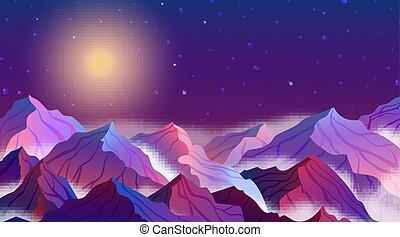 beau, pleine lune, ciel, illustration, étoiles, vecteur, paysage, nuit, montagnes