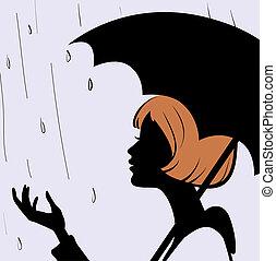 beau, pluvieux, silhouette, jeune, figure, parapluie noir,...