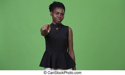 beau, pointage, femme affaires, jeune, appareil photo, africaine