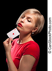 beau, poker, projection, blonds, girl, carte
