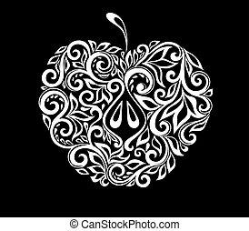 beau, pomme, isolated., modèle, noir, floral, monochrome, blanc, décoré