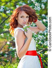 beau, pomme, tasse, fleur, printemps, chandail, arbre, rouges, temps, roux, portrait, femmes, chapeau, jardin, sunset.