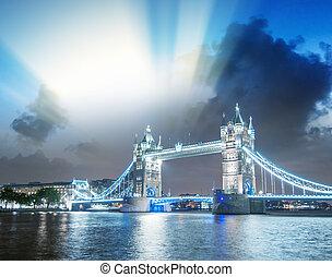 beau, pont, londres, nuit, tour, vue