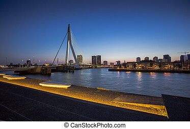 beau, pont, Pays-Bas,  image,  Rotterdam, célèbre,  erasmus, rivière, sur,  meuse
