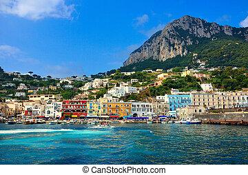beau, port, italie, coloré, île, méditerranéen, capri, grande, marina
