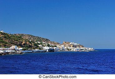 beau, port, village, grec