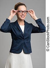 beau, porter, affaires femme, lunettes