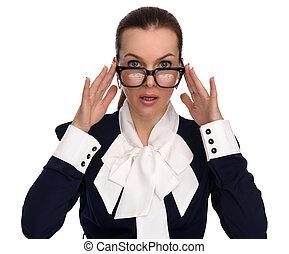 beau, porter, affaires femme, surtrised, lunettes