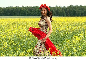 beau, porter, brunette, été, jeune, fleur, classé, girl,...