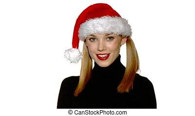 beau, porter, claus, santa, sexy, portrait, girl, chapeau