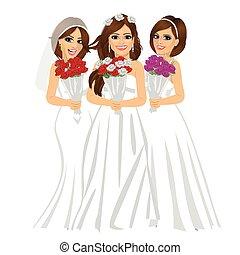 beau, porter, différent, mariée, bouquet, mariées, trois, roses, poser, robes