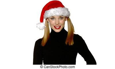beau, porter, enfermé dans boîte, projection, claus, dons, santa, portrait, sexy, girl, chapeau