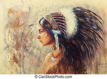 beau, porter, femme, airbrush, jeune, bi, indien, peinture