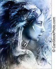 beau, porter, femme, grand, jeune, indien, mystique, peinture