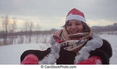 beau, porter, femme, hiver, neigeux, nature, motion., jeune, noël, lent, dehors, amusement, chapeau, avoir, 1920x1080, heureux