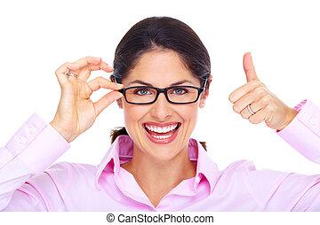beau, porter, femme, jeune, portrait., lunettes