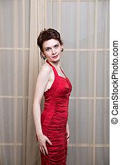 beau, Porter, femme, jeune, robe, rouges