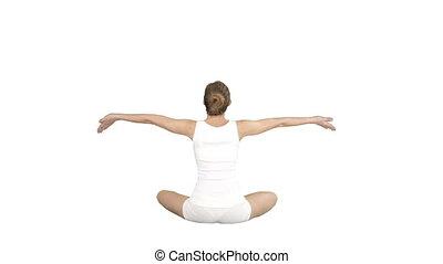 beau, porter, femme, pratiquer, séance, lotus pose, jeune, arrière-plan., yoga, blanc, vêtements de sport