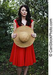 beau, Porter, femme, robe, rouges