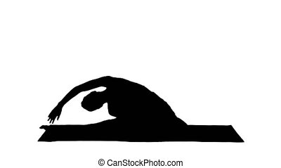 beau, porter, femme, silhouette, exercise., pose., séance, (single, pigeon, jeune, pigeon), one-legged, yoga, blanc, habillement, roi