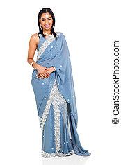 beau, porter, femme, traditionnel, costume indien