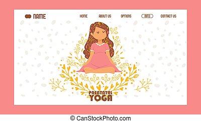beau, porter, garder, femme, yoga, illustration., pose, pregnant, lotus, méditer, feuilles, couronne, yogi, bannière, flowers., vecteur, meditation., character., relaxation, robe, calme