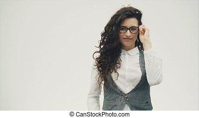 beau, porter, gros plan, brunette, business, jeune, glasses., quoique, portrait, woman., s'ouvrir étonnant, yeux
