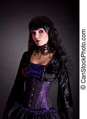 beau, Porter,  Halloween, gothique, déguisement,  portrait,  girl