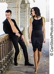 beau, porter, mode, couple, modèles, espagnol, vêtements