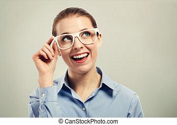 beau, porter, oeil femme, business, blanc, lunettes