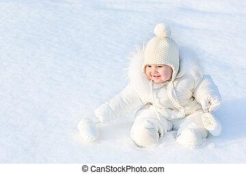 beau, porter, peu, séance, neige, chaud, dorlotez fille, blanc