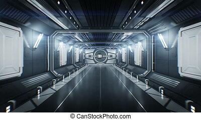 beau, portes, métal, résumé, il, par, dehors, animation, 3840x2160, blanc, vaisseau spatial, 3d, vol, ouverture, channel., alpha, hd, tunnel, light., 4k, ultra, futuriste