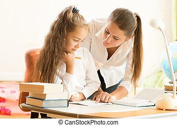 beau, portion, fille, devoirs, mère