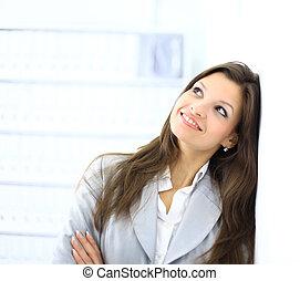 beau, portrait, affaires femme