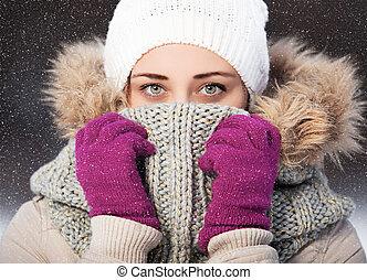 beau, portrait, blond, hiver