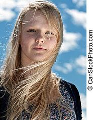 beau, portrait, blond