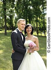 beau, portrait, couple, jour, mariage