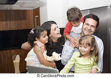 beau, portrait, cuisine, famille, cuisine