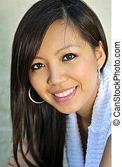 beau, portrait, femme, asiatique