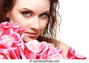 beau, portrait, femme, magnifique, jeune