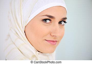 beau, portrait, femme, musulman